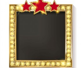 Golden diamond frame with red star and white background vector