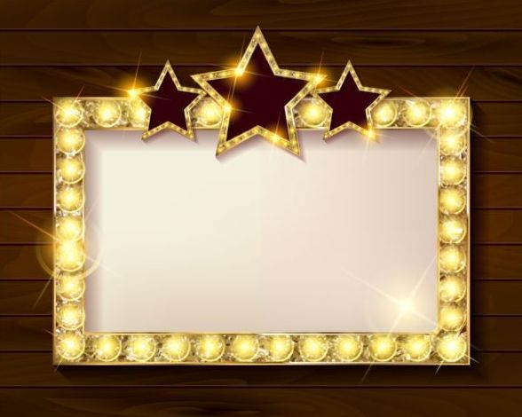 golden diamond frame with wooden background vector