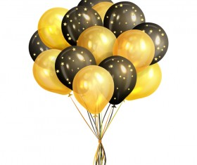 Golden with black balloon stars vector