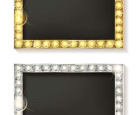 Golden with silver diamond frame vector material 02