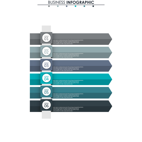 Gray with blue infographic template vectors 11