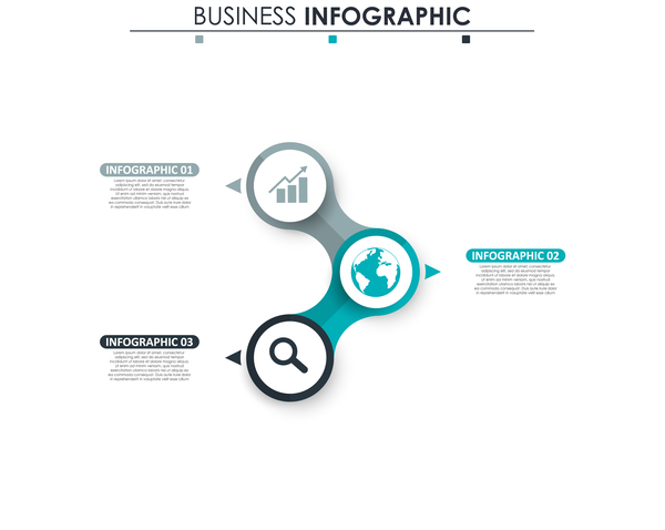 Gray with blue infographic template vectors 18