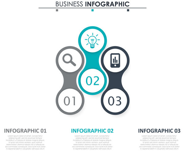Gray with blue infographic template vectors 20