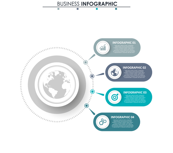 Gray with blue infographic template vectors 21
