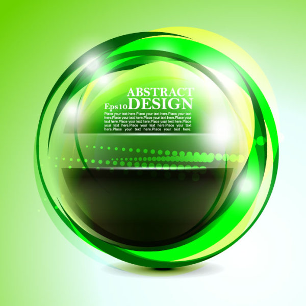 Green cricles with abstract vector background