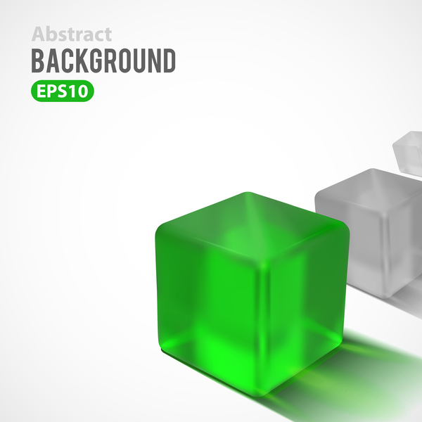 Green cube with white background vector