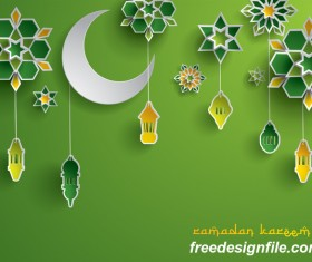 Green ramadan background with decor glantern vector 01
