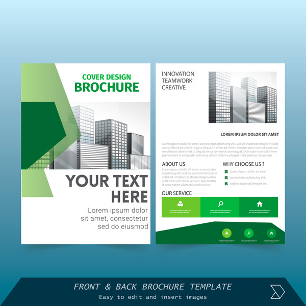 green styles brochure cover design vector free download