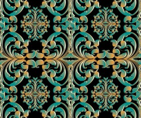 Green with golden retro pattern seamless vector