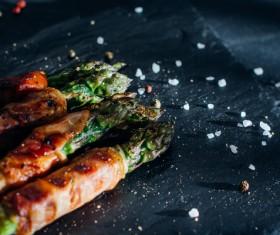 Grilled Asparagus with Salt Stock Photo 01