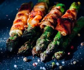 Grilled Asparagus with Salt Stock Photo 04