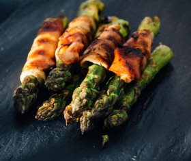Grilled Asparagus with Salt Stock Photo 05