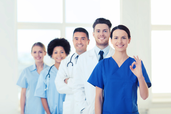 Group of happy doctors at hospital Stock Photo 01