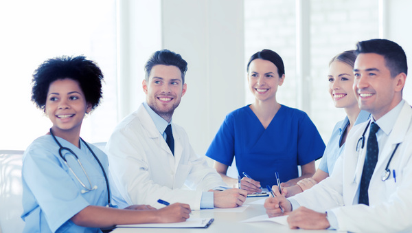 Group of happy doctors at hospital Stock Photo 02
