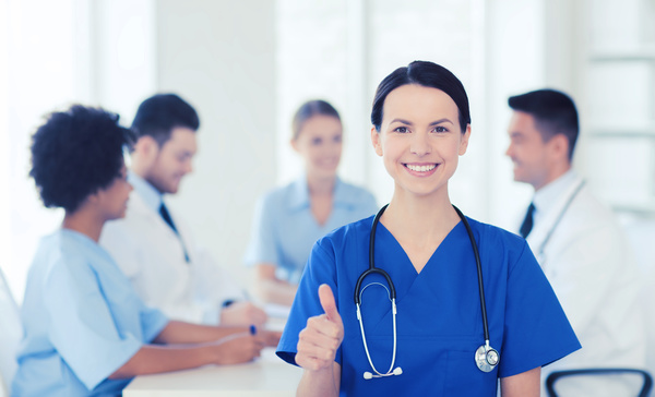 Group of happy doctors at hospital Stock Photo 03