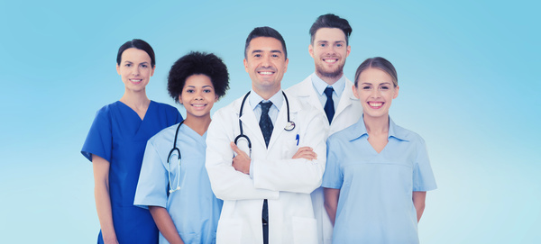 group of happy doctors over blue background