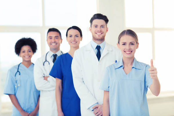 Group of happy doctors at hospital Stock Photo 08