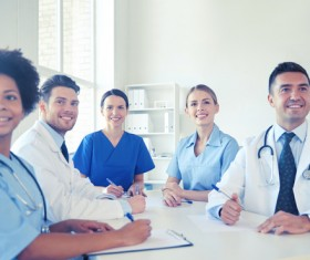 Group of happy doctors at hospital Stock Photo 10