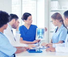 Group of happy doctors at hospital Stock Photo 11