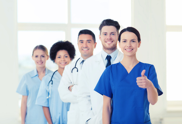 Group of happy doctors at hospital Stock Photo 12