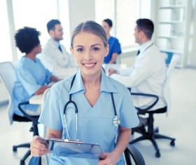 Group of happy doctors at hospital Stock Photo 13