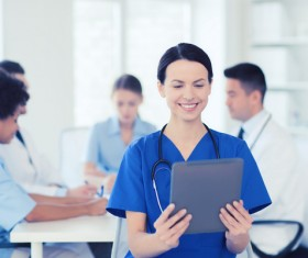 Group of happy doctors at hospital Stock Photo 14