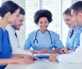 Group of happy doctors at hospital Stock Photo 15