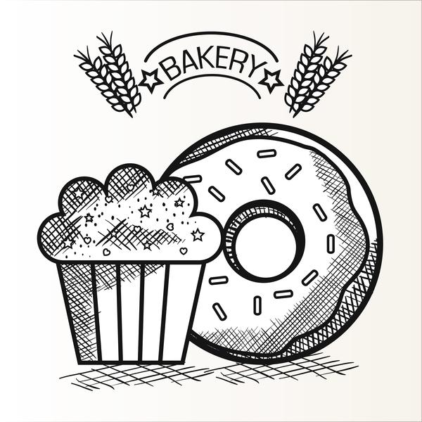 Hand drawn bakery design elements vector 01