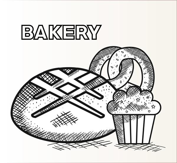 Hand drawn bakery design elements vector 02