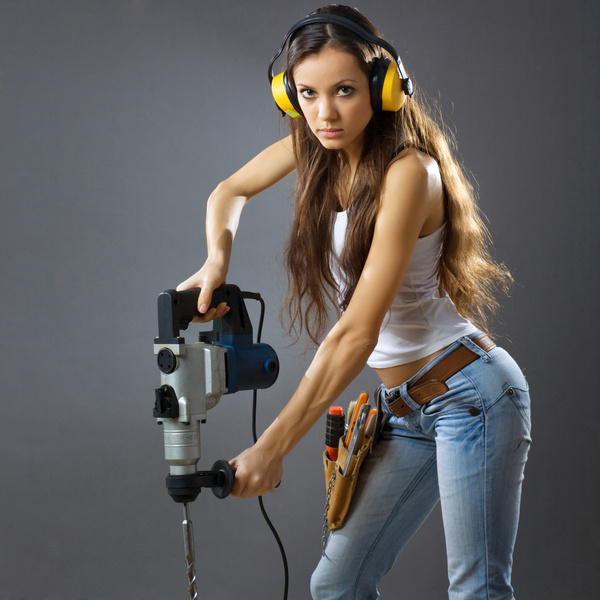 Hand holding electric drill work woman HD picture
