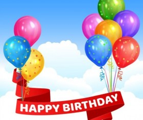 Happy birthday red ribbon with colored balloon vector