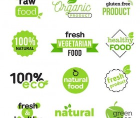 Healthy food logos with badge design vector