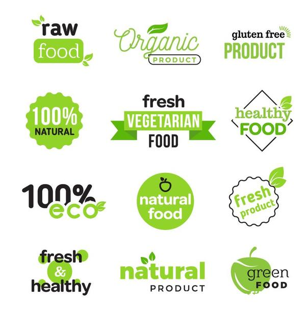 Healthy food logos with badge design vector