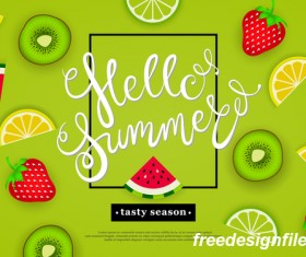 Hello summer tasty season with tropical fruits vector 01