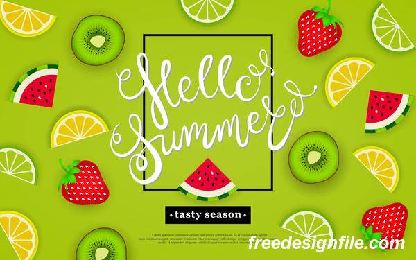 Hello summer tasty season with tropical fruits vector 01