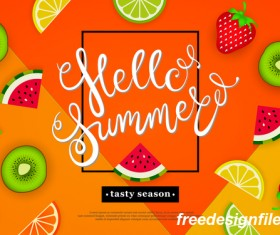 Hello summer tasty season with tropical fruits vector 02