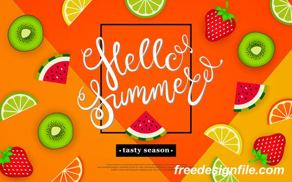 Hello summer tasty season with tropical fruits vector 02