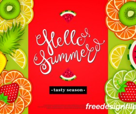 Hello summer tasty season with tropical fruits vector 03
