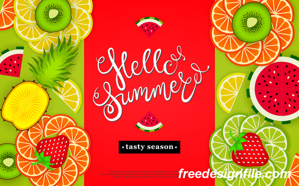 Hello summer tasty season with tropical fruits vector 03