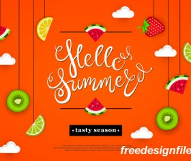 Hello summer tasty season with tropical fruits vector 04