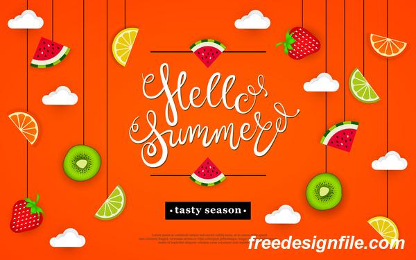 Hello summer tasty season with tropical fruits vector 04
