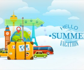 Hello summer vacation travel background vectors