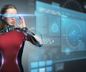 High tech female scan Stock Photo