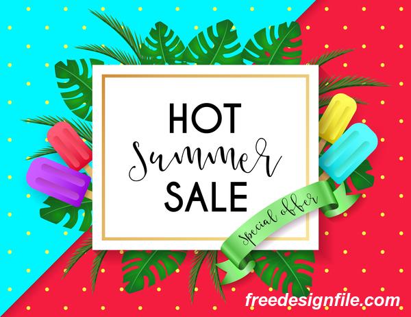 Hot summer sale poster design vectors 01