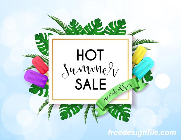 Hot summer sale poster design vectors 02