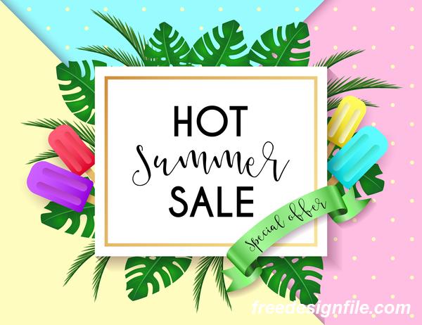 Hot summer sale poster design vectors 04