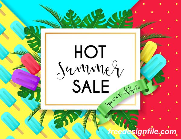 Hot summer sale poster design vectors 05