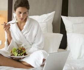 Hotel to enjoy breakfast internet woman Stock Photo