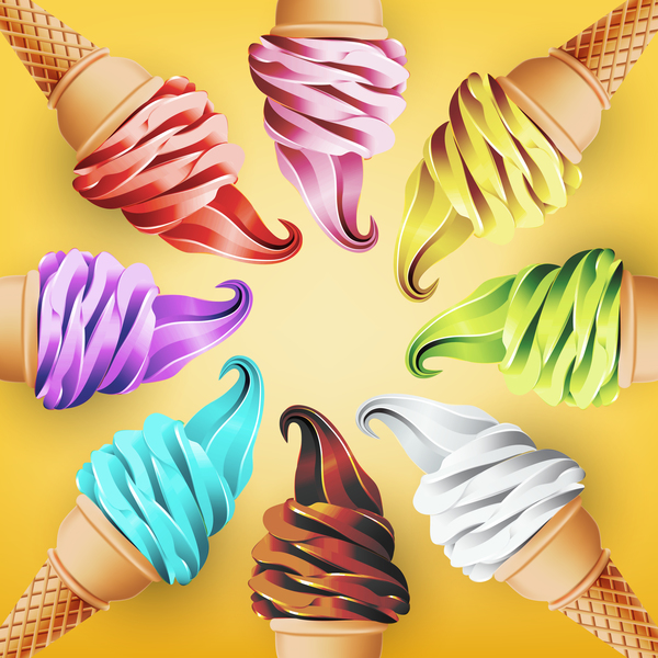 Ice Cream Background Design Vector 01 Free Download