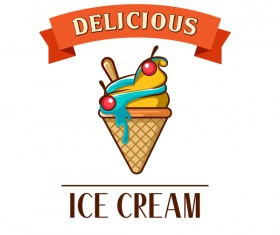 Ice cream label design vector 01